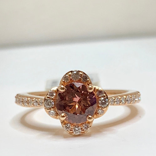 Lotus Garnet and Diamond Flower Ring