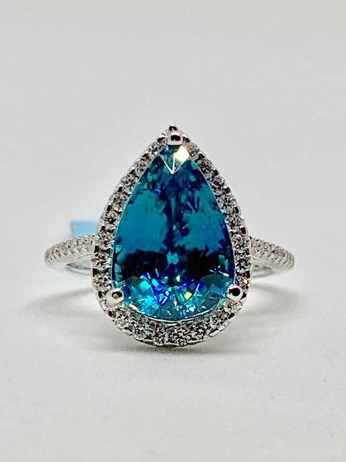 cambodian blue zircon and diamond ring