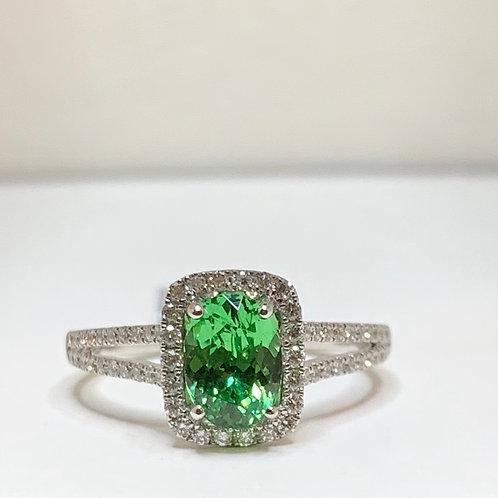 Mint Garnet and Diamond Ring
