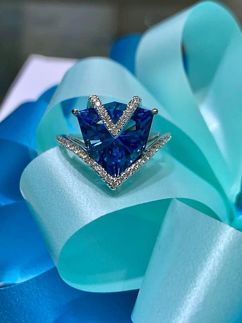 fancy cut brilliant swiss blue topaz ring
