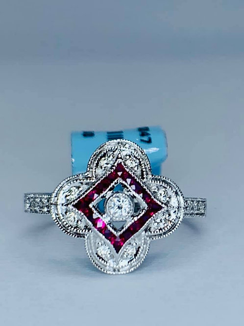 clover style ruby and diamond ring