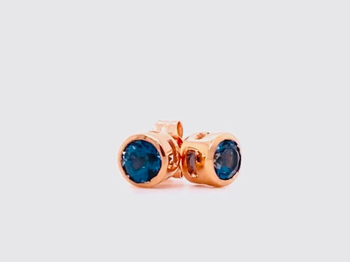 14k rose gold London blue topaz earrings