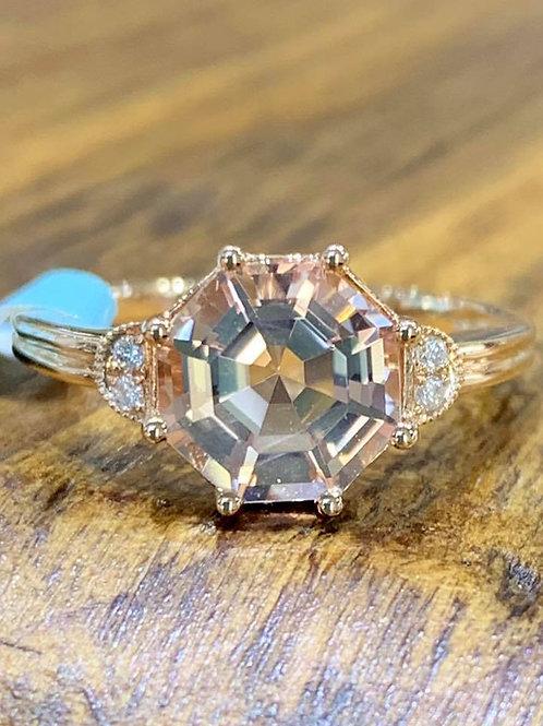 asscher cut morganite 18k rose gold ring
