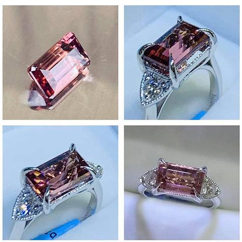congolese tourmaline & diamond ring