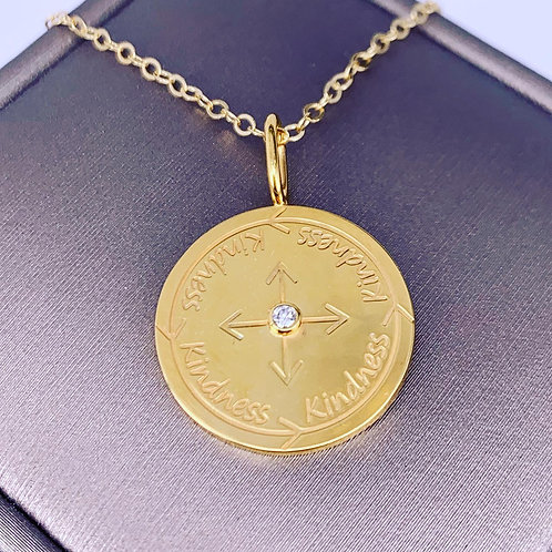 gold plated kindness coin necklace
