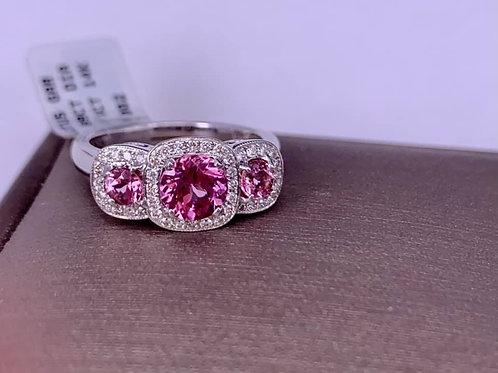 3 Stone Lotus Garnet and Diamond Ring