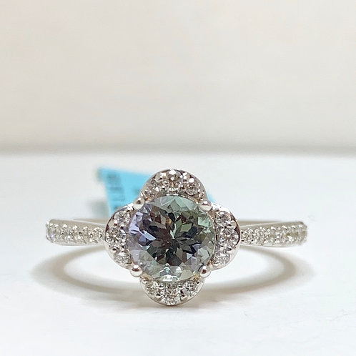 Peacock Tanzanite and Diamond Ring
