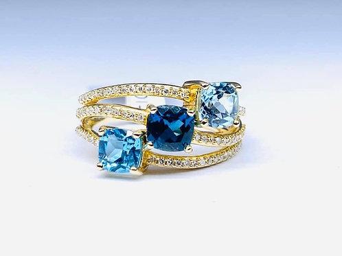 cushion cut 3 blue topaz ring