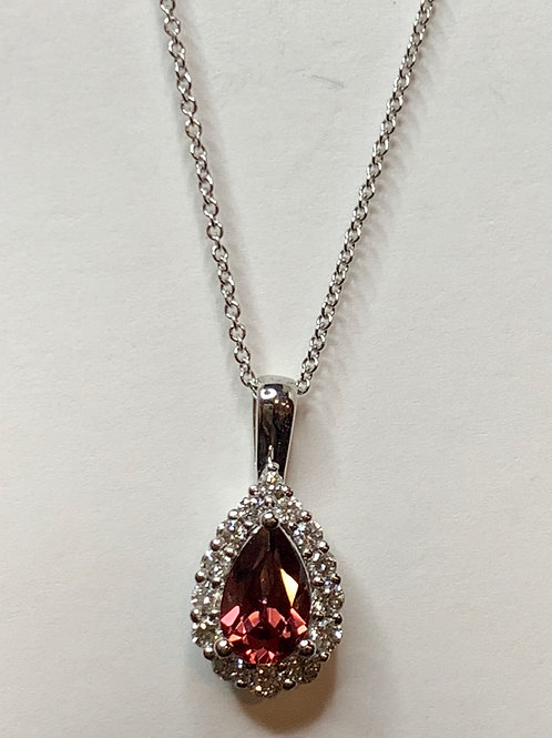 Pear Shaped Rhodalite Garnet and Diamond