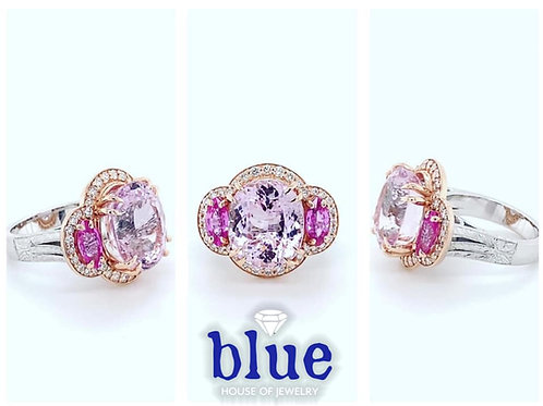 custom designed kunzite, pink sapphire & diamond ring