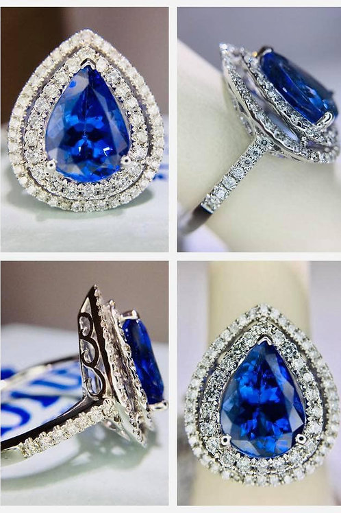 Pear Shape Tanzanite and Diamond Ring
