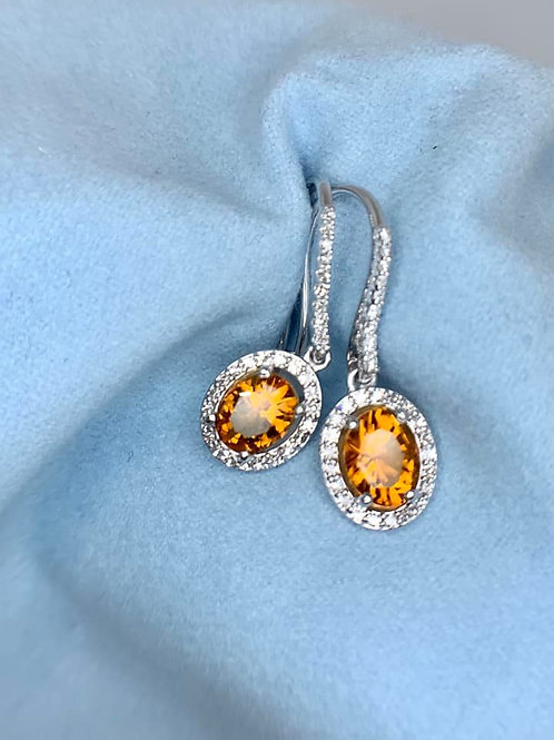 madiera citrine and diamond earrings
