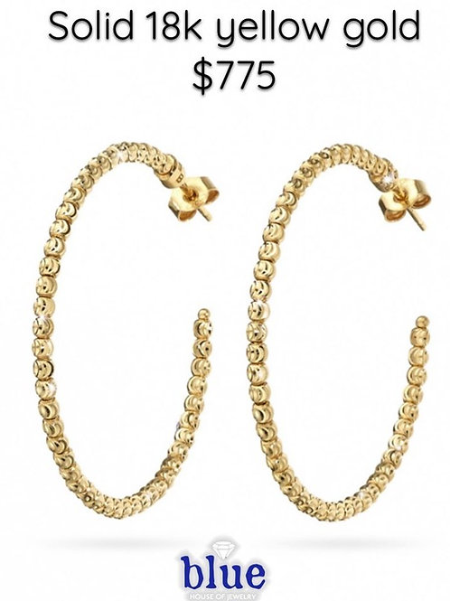 solid 18k yellow gold hoops