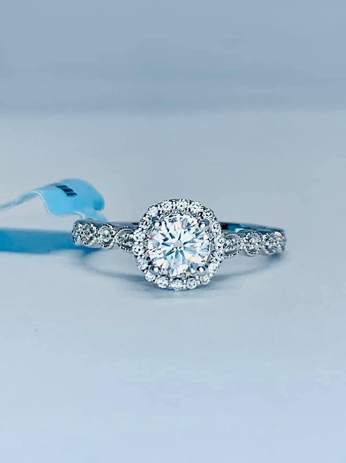 halo engagement with vintage styling