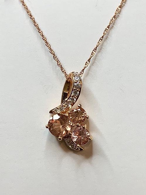 Lotus Garnet and Diamond Necklace