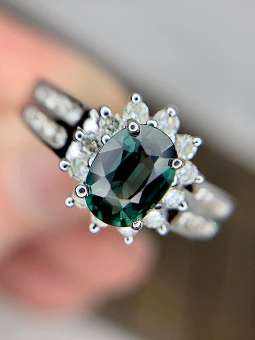 teal green sapphire and diamond ring