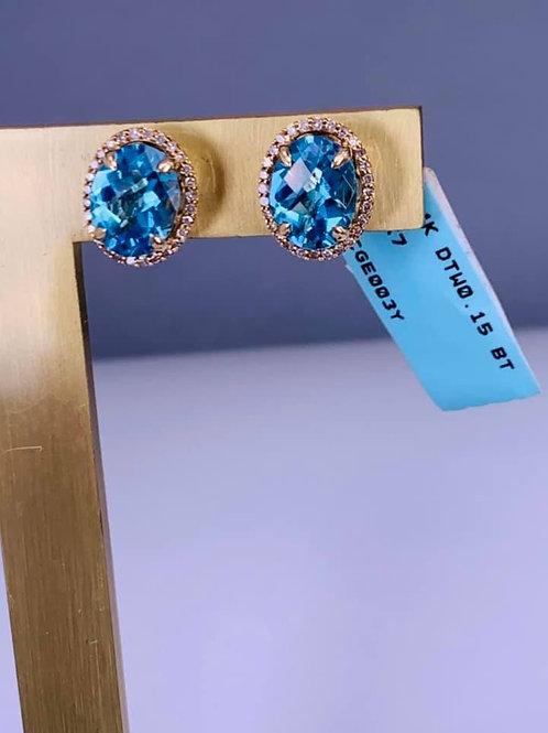 london blue topaz and diamond earrings