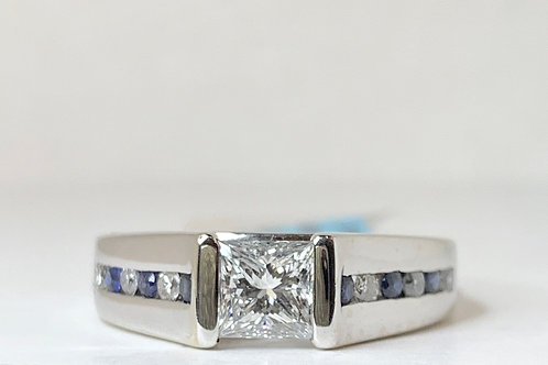 Princess Cut Diamond and Sapphire Engagement Ring