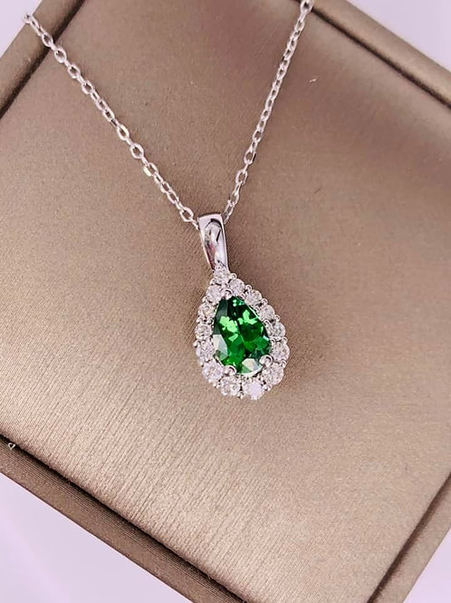 green tourmaline and diamond necklace