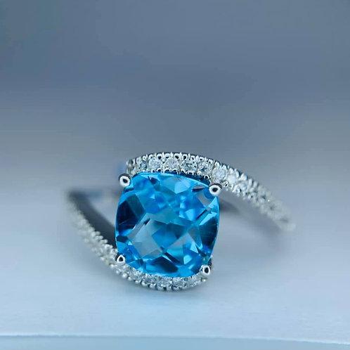 cushion cut blue topaz ring