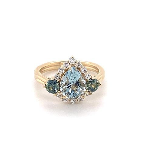 aquamarine, party sapphire & diamond ring