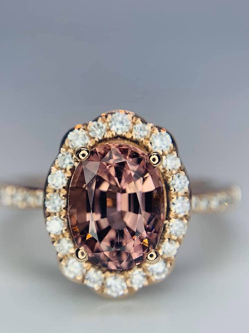 blush spinel with diamonds rose gold ring