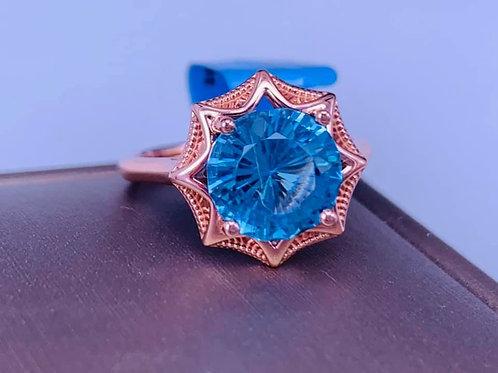 custom 4 carat blue topaz ring