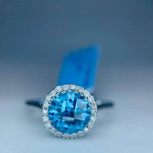diamond halo blue topaz ring