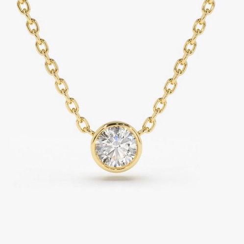 14k yellow gold 3/4 carat diamond necklace