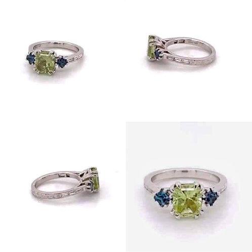 custom designed mint garnet, alexandrite & diamond ring