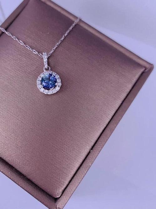 Peacock Tanzanite and Diamond Necklace