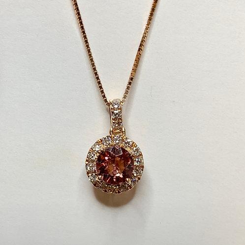 Round Lotus Garnet and Diamond Necklace