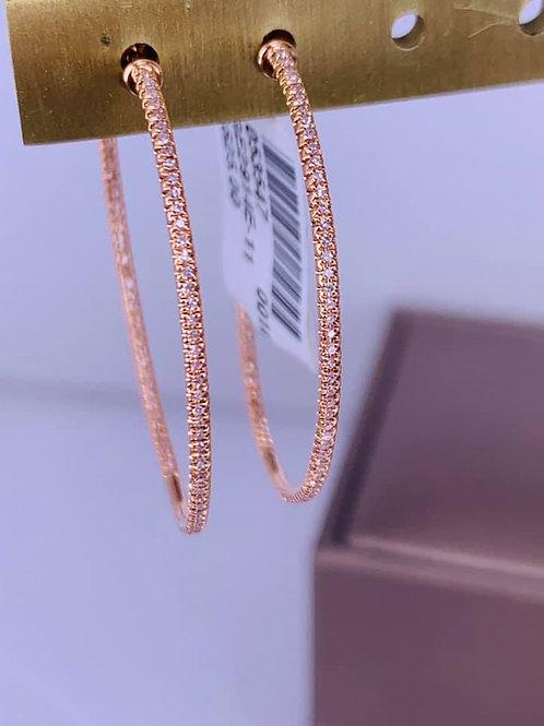 rose gold diamond skinny hoop earrings