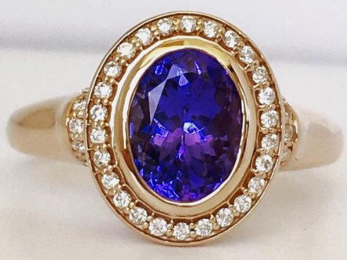 Bezel Set Tanzanite and Diamond Ring