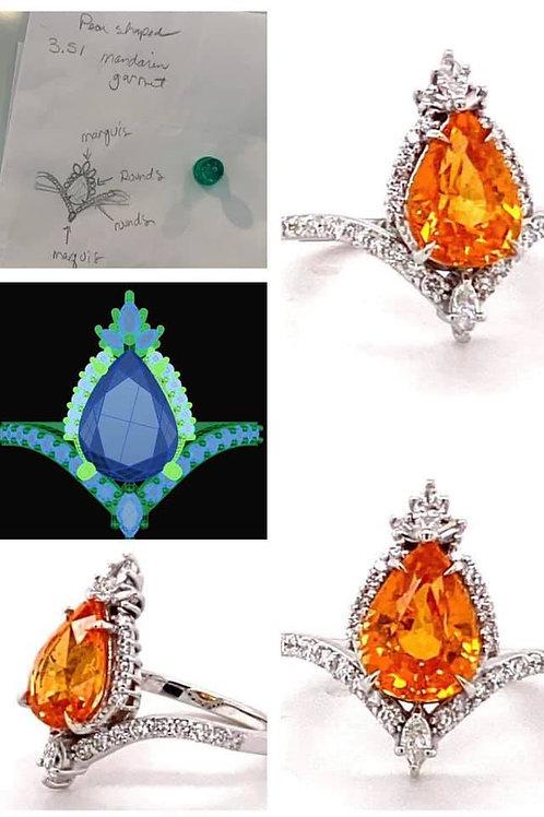 Mandarin garnet custom designed ring