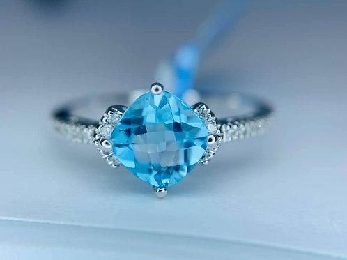 petite blue topaz & diamond ring