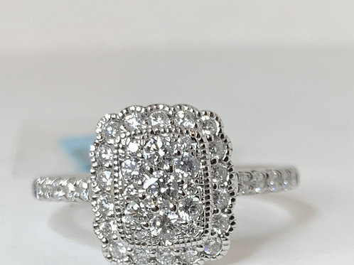 Antique Style Cluster Engagement Ring