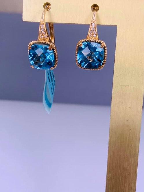 cushion cut blue topaz earrings
