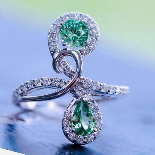 Mint Garnet and Diamond Fashion Ring