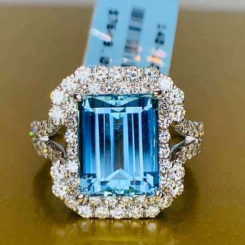 Santa Anna RARE aquamarine and diamond ring