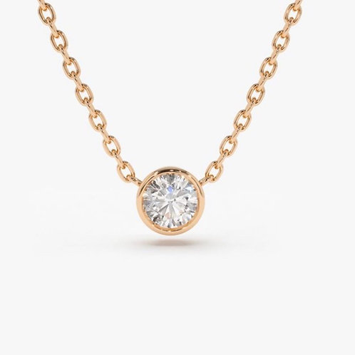 solitaire diamond 14k rose gold necklace