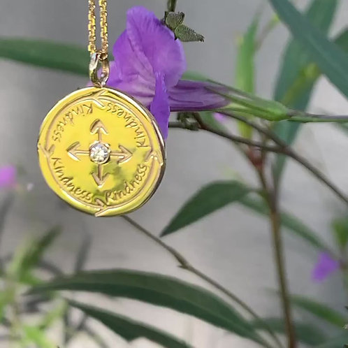 14k gold with diamond kindness coin necklace