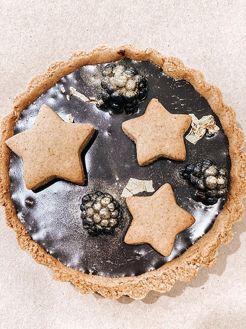Gingerbread tart with ganache filling.
