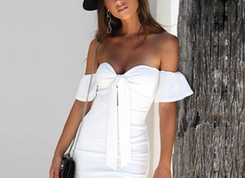 Off the Shoulder Bow Knot Dress