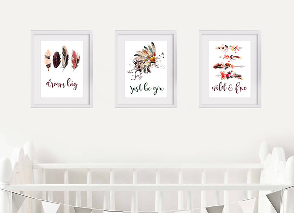 Boho Birth Announcement Nursery Wall Art