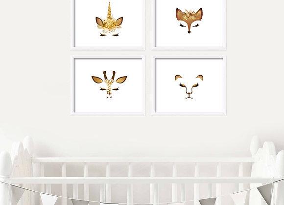 African Animals Birth Announcement Nursery Wall Art