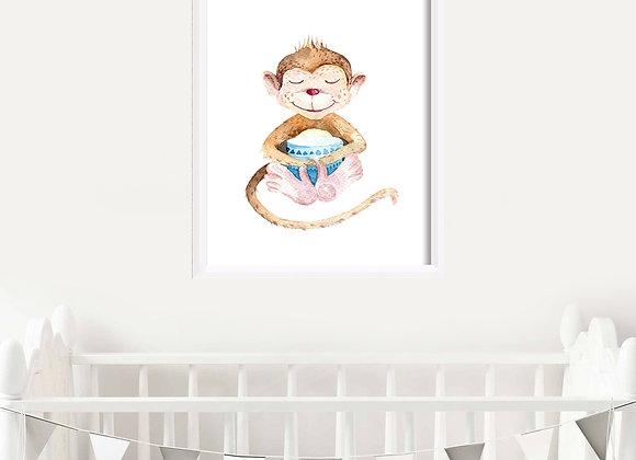 Monkey Birth Announcement Nursery Wall Art