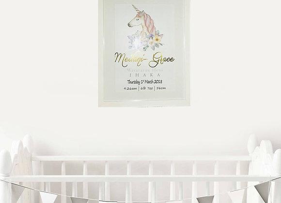 Unicorn Foil Birth Announcement Nursery Wall Art