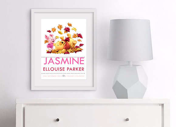 Pooh and Piglet Birth Announcement Nursery Wall Art