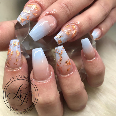 ombre with foil acrylic nails